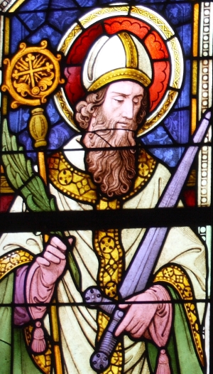 detail of a stained glass window of Saint Frederick of Utrecht; c.1847, artist unknown; parish church of Siant Michael, Mayen-Koblenz, Germany; photographed on 15 September 2012 by GFreihalter; swiped from Wikimedia Commons; click for source image