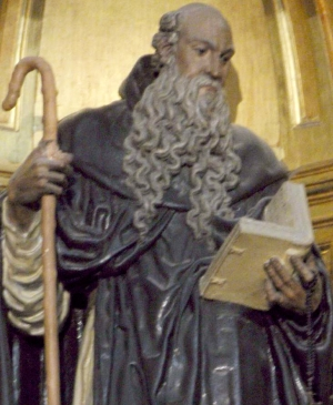 detail of statue of Saint Fructos of Segovia, date and artist unknown; Segovia, Spain; photographed by Zarateman on 27 April 2013; swiped from Wikimedia Commons