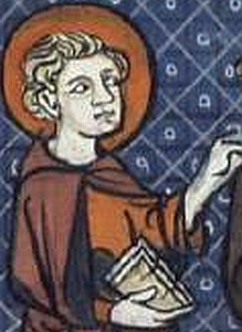 detail of an illustration of Saint Fursey of Péronne from a 16th century French 'Lives of the Saints' published in Paris, France; Richard de Montbaston et collaborateurs; swiped from Wikimedia Commons; click for source image