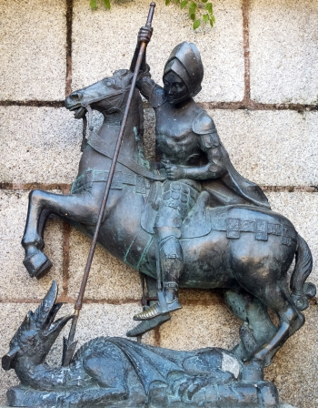 statue of Saint George and the Dragon; date and artist unknown; Church of Saint Francis Xavier, Convent of the Precious Blood, Caceres, Spain; photographed on 30 December 2012 by Pedro M Martínez Corada; swiped from Wikimedia Commons; click for source image