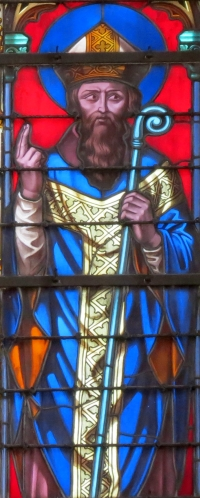 detail of stained glass window of Saint Gerbaud, Bishop of Bayeux; by Étienne-Hormidas Thevenot, 1848; north transept, Cath