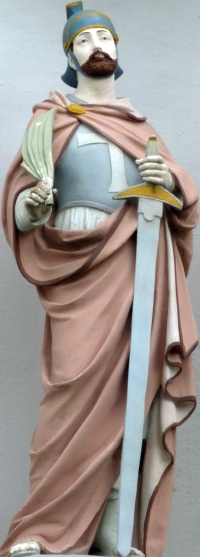 sculpture of Saint Gereon; date unknown, aritst unknown; Church of Saint Gereon, Berkum, Wachtberglifte, Germany; photographed on 30 April 2010 by GFreihalter; swiped from Wikimedia Commons; click for source image