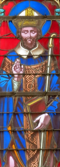detail of stained glass window of Saint Geretrand of Bayeux; by Étienne-Hormidas Thevenot, 1848; north transept, cathedral of Bayeux, France; photographed on 16 August 2012 by Yoke; swiped from Wikimedia Commons