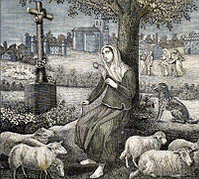detail of a 19th century print of Saint Germaine Cousin, date unknown, artist unknown; swiped off the Wikipedia web site