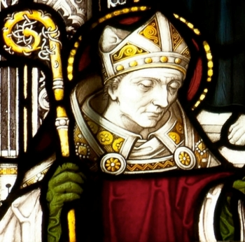 detail of a stained glass window of Saint Germanus of Auxerre; 1907, artist unknown; Truro Cathedral, Cornwall, England; photographed on 26 Februar