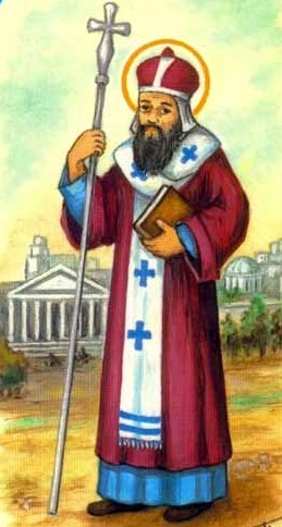 detail from an antique Italian holy card of Saint Germanus by Constantinopleby Bertoni, date unknown; swiped from Santi e Beati