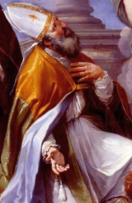 portrait of Saint Gerontius of Cervia from a work by Louis Garza, 1704, cathedral of the basilica of Cagli, Italy; swiped from Wikimedia Commons