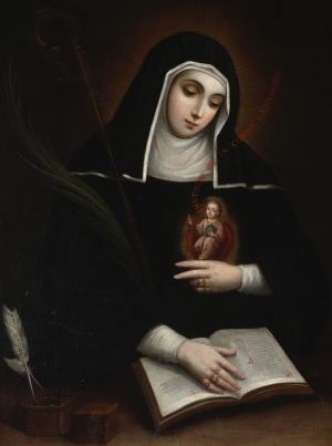detail of a painting of Saint Gertrude the Great, by Miguel Cabrera, 1763; Dallas Museum of Art, Dallas, Texas, USA; swiped from Wikimedia Commons