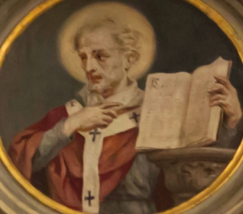 painted rondo of Saint Gerontius of Milan; by Casimiro Radice and Giovanni Valtorta, latter 19th-century; Basilica di San Nicolò, Lecco, Italy; photographed on 16 February 2013 by A ntv; swiped from Wikimedia Commons; click for source image