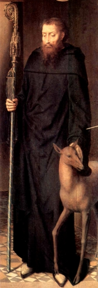 detail of a painting of Saint Giles; by Hans Memling, 1491; oil on panel, altar triptych, Cathedral of Lübeck, Germany; now in the Sankt-Annen-Museum, Lübeck, Germany; swiped
