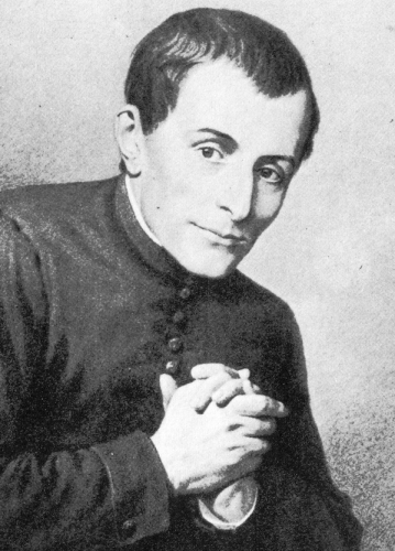 detail of a portrait of Saint Giuseppe Cafasso, by Enrico Reffo, 1895; swiped from Wikimedia Commons