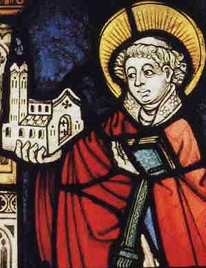 detail of a stained glass window of Saint Goar of Acquitaine; c.1450, artist unknown; Collegiate Church of Saint Goar am Rhein, Germany; swiped from Wikimedia Commons; click for source image