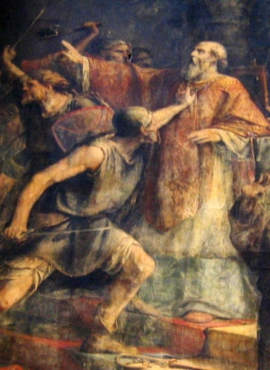 detail of a painting of the martyrdom of Saint Gohardus of Nantes; by Édouard Jolin, date unknown; cathedral of Nantes, France; photographed on 16 June 2005 by Frederic.chotard; swiped from Wikimedia Commons