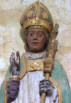 detail of a statue of Saint Goulven; date unknown, artist unknown; Saint Jaoua Chapel, Plouvien, France; photographed on 4 August 2012 by GO69; swiped from Wikimedia Commoms