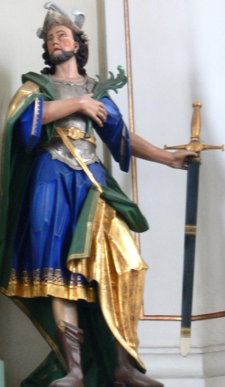 statue of Saint Gordianus; c.1780 by Konrad Hegenauer; Church of Saints Gordian und Epimachus, Merazhofen, Stadt Leutkirch im Allgäu, Landkreis Ravensburg, Germany; photographed in May 2009 by Andreas Praefcke; swiped from Wikimedia Commons; click for source image