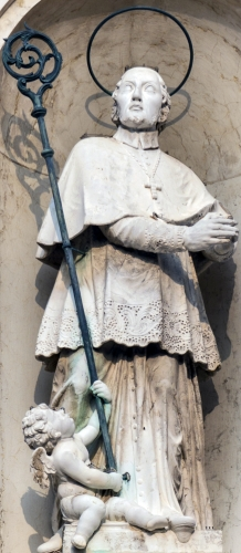 statue of Saint Gregorio Barbarigo by Giovanni Marchiori, date unknown; church of San Rocco, Venice, Italy; photographed on 1 November 2016 by Didier Descouens; swiped from Wikimedia Commons