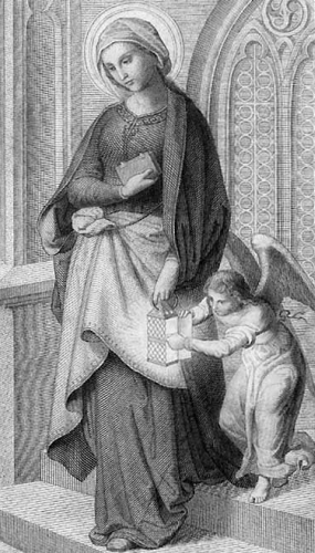 detail of an antique holy card of Saint Gudule of Brussels, date and artist unknown; swiped from Wikimedia Commons