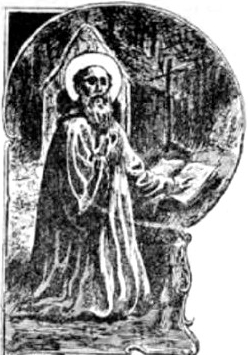 detail of an illustration of Saint Guevrock; from the book 'Lives of the Saints' by Yann-Vari Perrot, 1912; swiped from Wikimedia Commons; click for source image