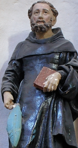 detail of a statue of Saint Goustan; date unknown, artist unknown; Abbey-church of Saint-Gildas-de-Rhuys, Morbihan, France; photographed in August 2007 by Romary; swiped from Wikimedia Commons; click for source image