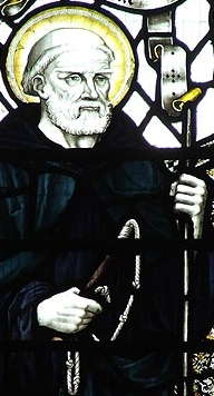 detail of a stained glass window of Saint Guthlac of Croyland; artist unknown, 19th century; Crowland Abbey, Lincolnshire, England; swiped from Wikimedia Commons; click for source image