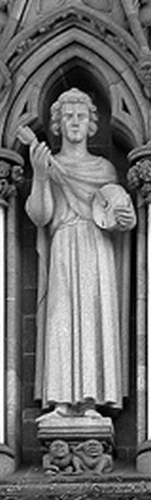 statue of Saint Hallvard, date and artist unknown; front of the west side of the Nidaros Cathedral, Trondheim, Norway; photographed in 2005 by E. Dreier; swiped from Wikimedia Commons