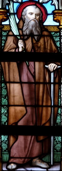 detail of a stained glass window of Saint Helier; date unknown, artist unknown; Basilica of Our Lady, Tongeren, Limburg, Belgium; photographed on 11 October 2012 by GFreihalter; swiped from Wikimedia Commons; click for source image