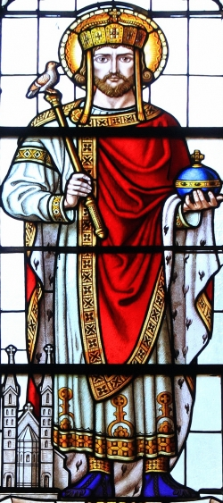stained glass window of Saint Henry II; 1802, artist unknown; parish church, Providence of God, Jaworze, Poland; photographed on 2