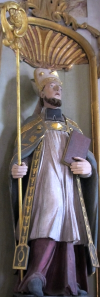 statue of Saint Hermeland; date unknown, artist unknown; Church of Saint-Hermeland de Sottevast, Manche, Brittany, France; photographed on 1 August 2013 by Xfigpower; swiped from Wikimedia Commons; click for image source