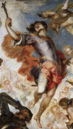 detail from the painting 'The Triumph of Hermengild'; by Francisco de Herrera the Younger, 1654, oil on canvas; Museo del Prado, Madrid, Spain; swiped from Wikimedia Commons; click for source image