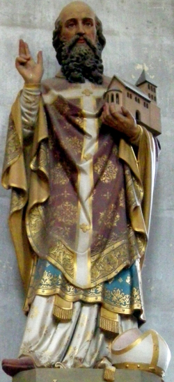 polychrome statue of Saint Hydulphe; 19th century, artist unknown; abbey church of Moyenmoutier, Vosges, France; photographed on 13 May 2008 by Ji-Elle; swiped from Wikimedia Commons; click for source image