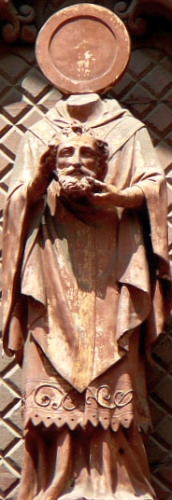 detail of a statue of Saint Hilarion of Espalion, date and artist unknown; Church of Saint John the Baptist, Espalion, France; photographed by Richard Stracke; swiped from Christian Iconography