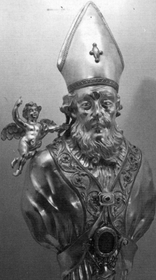 silver reliquary bust of Saint Hilary of Galeata, artist unknown, 1961, church of Carmine, Lugo, Italy
