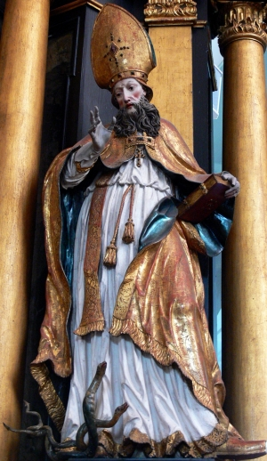 statue of Saint Hilaire of Poitier; by Franz Anton Koch, 1742; Saint Michael parish church, Mondsee, Upper Austria; photgraphed on 11 May 2009 by Wolfgang Sauber; swiped from Wikimedia Commons; click for source image
