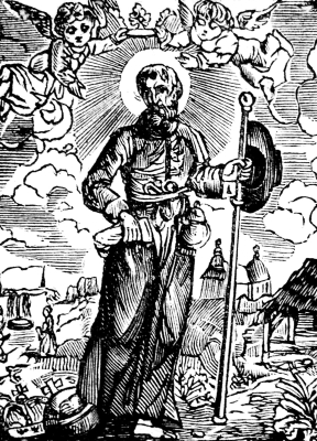 antique illustration of Saint Himelin; date unknown, artist unknown; Vissenaken, Tienen, The Flanders, Belgium; uploaded on 26 December 2005 by Edelhart Kempeneers; swiped from Wikimedia Commons; click for source image