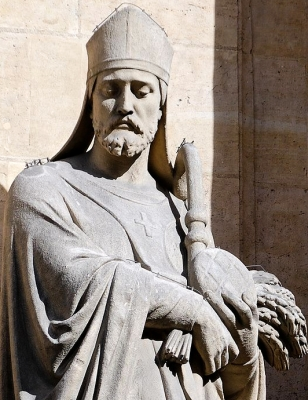 detail of a statue of Saint Honorius of Amiens; by Eugène Aizelin, 1873; church of Saint-Roch, Paris, France; photographed on 1 March 2008 by Marie-Lan Nguyen ; swiped from Wikimedia Commons; click for source image