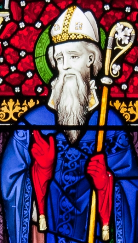 detail of a stained glass window of Saint Iberius; date and artist unknown; Church of the Assumption, Our Lady's Island, County Wexford, Ireland; photographed on 26 September 2010 by Andreas F. Borchert; swiped from Wikimedia Commons; click for source image