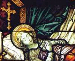 detail from a stained glass window in the chapel at Herzfeld depicting the death of Saint Ida; artist unknown, photographer unknown