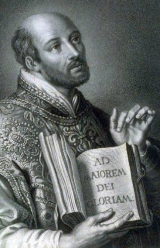 detail of an illustration Saint Ignatius of Loyola; date unknown, by William Holl the Younger; swiped from Wikimedia Commons; click for source image