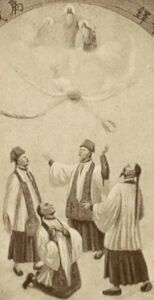 detail of an antique French holy card of the Joseph Yuen, Augustine Chao, Thaddeus Lieou, and Paul Lieou, artist unknown
