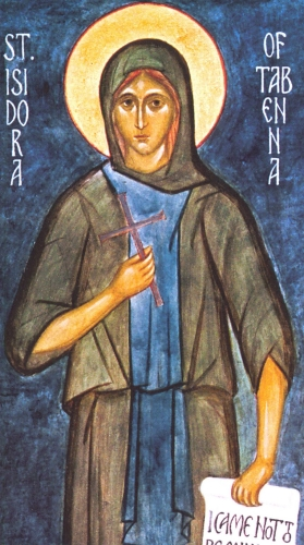detail of a 15th century icon of Saint Isidora of Egypt, artist unknown