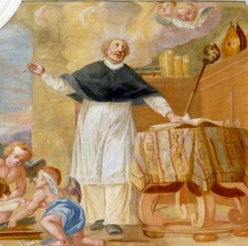 wall painting of Saint Ivo of Chartres; mid-18th-century by Joseph Dietrich; parish church of Saint John the Baptist, Rebdorf, Eichstätt, Germany; photographed on 18 March 2014 by GFreihalter