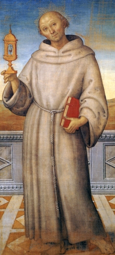 detail of a portrait of Beato Giacomo della Marca; by Pietro Perugino, 1512-15; tempera on canvas, Gallery of Umbria, Perugia, Italy; swiped from Wikimedia Commons; click for source image