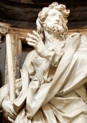 detail of the statue of Saint James the Lesser by Angelo de'Rossi, nave of the basil