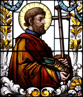 detail of a stained glass window of Saint James the Lesser; 19th century by F X Zettler, Munich, Germany; parish church of Saint Alban, Gutenzell-Hürbel, Biberach, Germany; photographed in January 2015 by Andreas Praefcke; swiped from Wikimedia Commons; click for source image