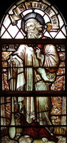 detail of a stained glass window of Saint James the Lesser, 1901,artist unknown; Saint Mark's Church, Lymington Avenue, London, England; photographed on 15 July 2001 by John Salmon; swiped from Wikimedia Commons; click for source image
