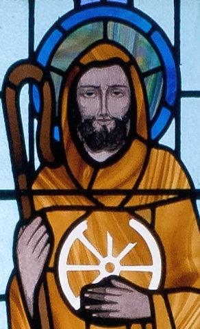detail of the stained glass window depicting Saint Jarlath; date and artist unknown; Saint Benin's Church, Kilbennan, County Galway, Ireland; photographed on 16 September 2010 by Andreas F. Borchert; swiped from Wikimedia Commons; click for source image