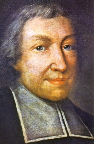 detail of the official portrait of Saint John Baptist de La Salle; Pierre Leger, date unknown; swiped from Wikimedia Commons; click for source image