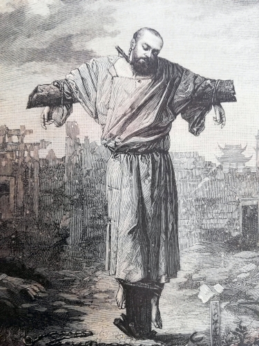 detail of an engraving of the martyrdom of Saint Jean-Gabriel Perboyre, date and artist unknown; uploaded on 3 January 2019 by GrandBout; swiped from Wikimedia Commons