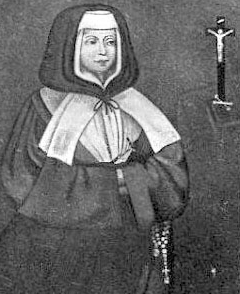 detail from an antique French holy card of Saint Jeanne of the Cross Delanoue, artist unknown