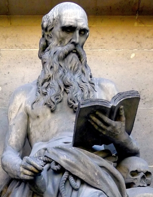 statue of Saint Jerome, Church of Saint Madelliene, Paris, France; sculptor unknown